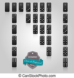 Domino black set of 28 pieces. Vector EPS10