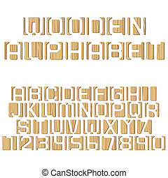 Vector wooden alphabet letters and numbers