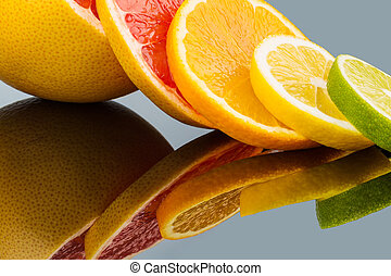 orange slices - slices of an orange. symbolic photo for...