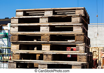 euro standard pallets - at a construction site store euro...