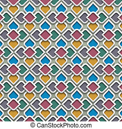 3d colored seamless pattern in islamic style
