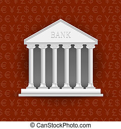 Bank building on background of symbols currency
