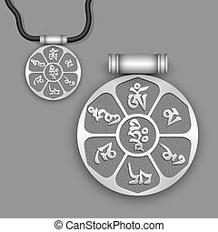 "Mantra ""Om Mani Padme Hum"" on silver pendant. Vector EPS10"