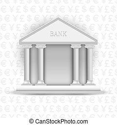 Vector bank icon on background of symbols currency