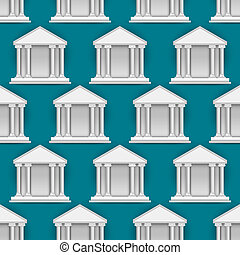 Vector seamless pattern of  buildings banks