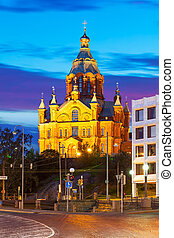 Uspensky Cathedral in Helsinki, Finland - Scenic evening...