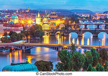 sera, scenario, Praga, ceco, repubblica