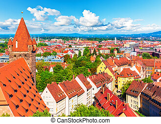 Aerial panorama of Nuremberg, Germany - Scenic summer aerial...