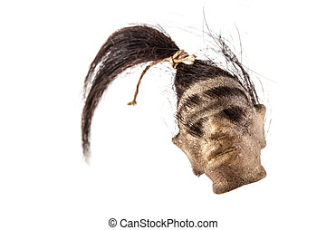 Shrunken head - a shrunked monkey head isolated on a white...