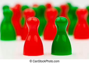red-green coalition government - red and green pawns...