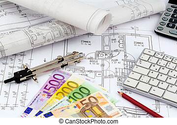 house plan with euro banknotes - an architect's blueprint...
