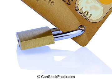 credit card and padlock - a golden credit card and padlock...