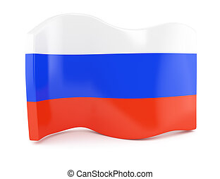 Russian flag symbol isolated on white background. 3d render
