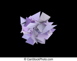 3d abstract purple spiked shape on black