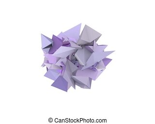 3d abstract purple spiked shape on white