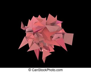 3d abstract red pink spiked shape on black