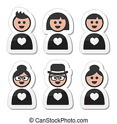 Poeple in love, valentine's icons - People in different ages...