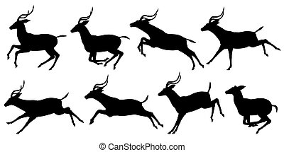 Running antelope - Set of editable vector silhouettes of...