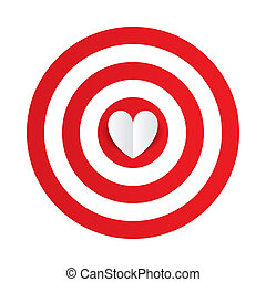 Paper heart in the center of darts target aim Valentines day...