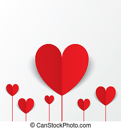 Paper hearts Valentines day card Flowers concept - Red paper...