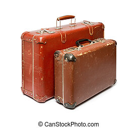Suitcases - Vintage suitcases on white background