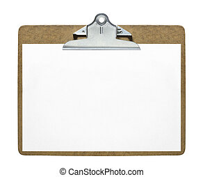 Clipboard with blank sheet of paper isolated on white...