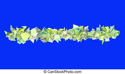 3d abstract green spiked shape on blue