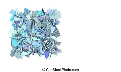 3d abstract blue spiked shape on white