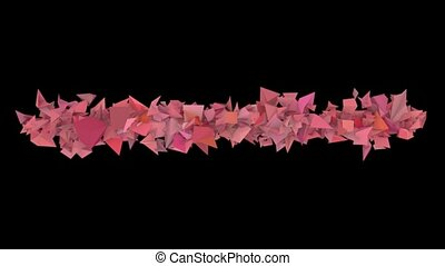 3d abstract pink red spiked shape on black