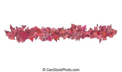 3d abstract red pink spiked shape on white