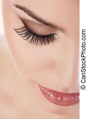 eyelashes - female eye with long false eyelashes