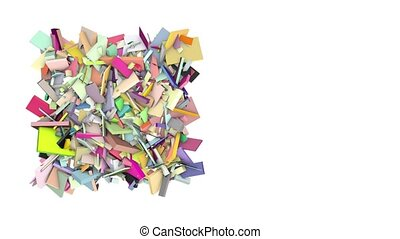 3d abstract rainbow color spiked shape on white