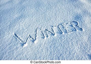 Word Winter written in Snow