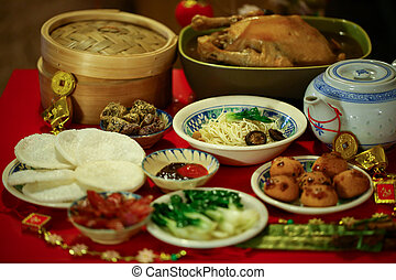 Chinese New Year feast - Chinese or Lunar New Year food are...