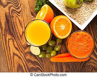 fresh juice on wood