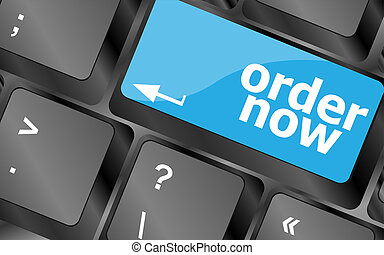 Order now computer key in blue showing online purchases and shopping