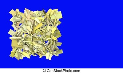 3d abstract yellow spiked shape on blue