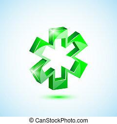 Icon green medical cross