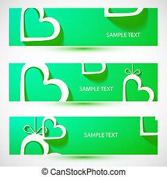 Paper heart green banner