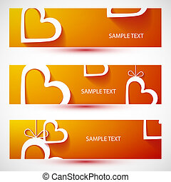 Paper heart orange banner