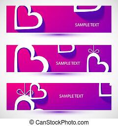 Paper heart violet banner