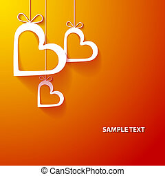 Paper heart orange background