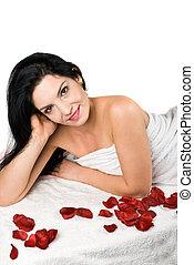 Smile woman at spa resort - Smile beauty woman at spa resort...