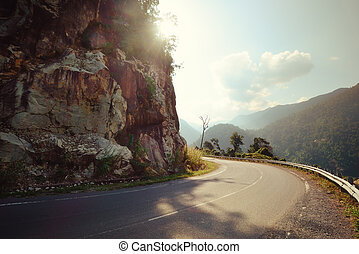 Turn of rural mountain highway in Mexico - Turn of rural...