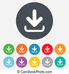 Download icon Upload button Load symbol Round colourful 11...