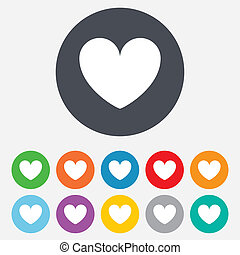 Heart sign icon. Love symbol. Round colourful 11 buttons.