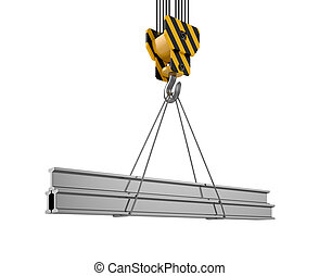 Crane hook with girderas - 3d illustration of crane hook...