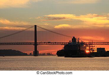 Sunset on river Tejo Lisbon, Portugal