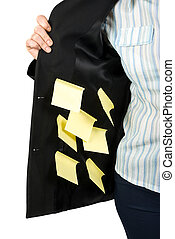 Interior of woman jacket with post it