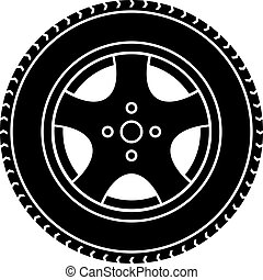 vector car wheel black white symbol